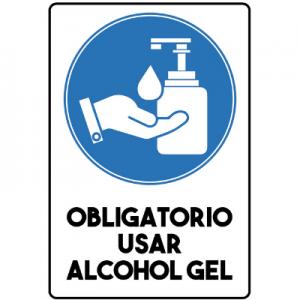 Señaletica Trovicel Obligatorio usar Alcohol Gel 20 x 30