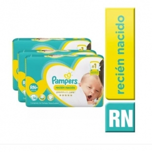Pack Pampers Premium Care Talla Rn+ 144 Unidades (4 Paquetes 36 un c/u)