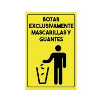 BOTAR EXCLUSIVAMENTE MASCARILLA Y GUANTES SEÑALETICA ADHESIVA 20 x 30